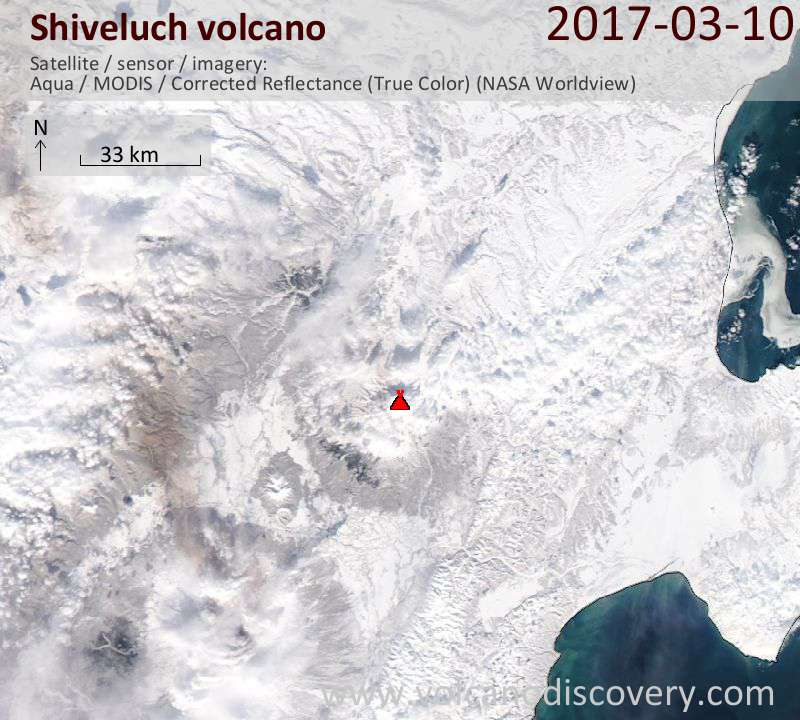 Satellite image of Shiveluch volcano on 10 Mar 2017