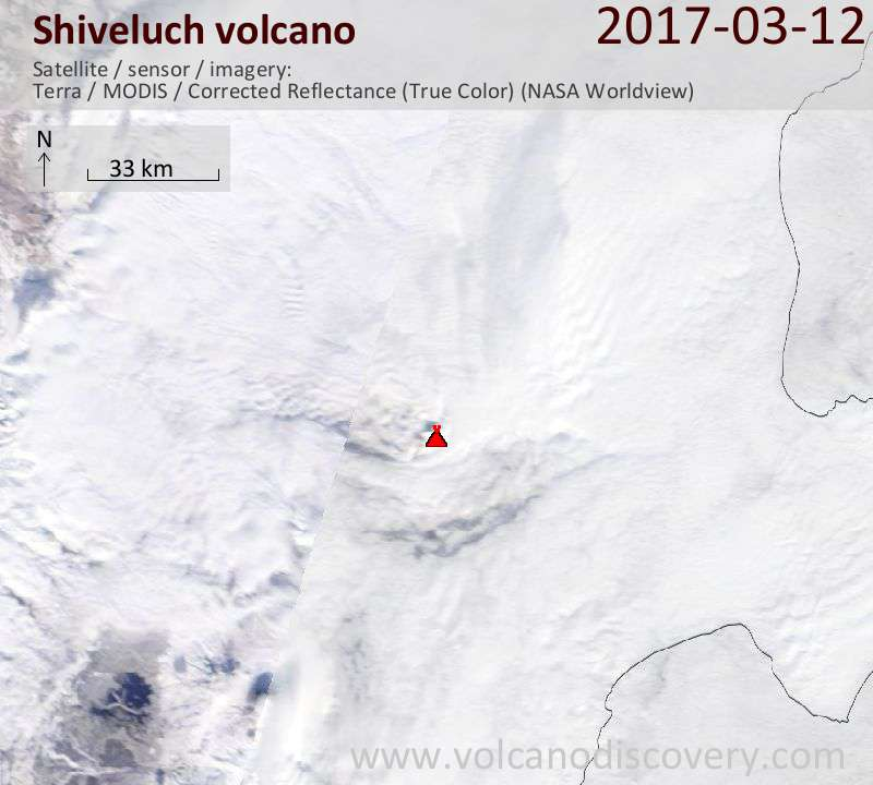 Satellite image of Shiveluch volcano on 12 Mar 2017