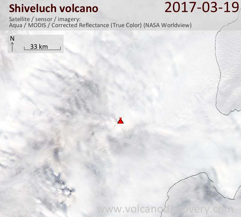Satellite image of Shiveluch volcano on 19 Mar 2017