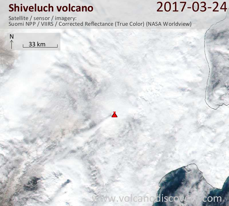 Satellite image of Shiveluch volcano on 24 Mar 2017