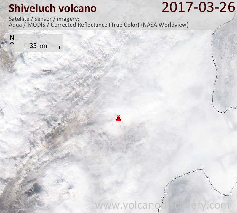 Satellite image of Shiveluch volcano on 26 Mar 2017