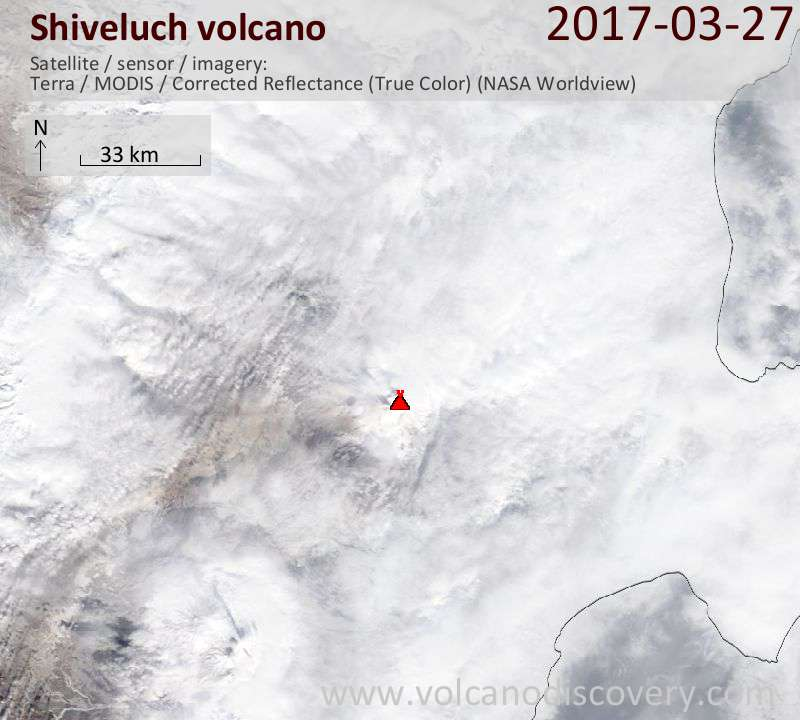 Satellite image of Shiveluch volcano on 27 Mar 2017