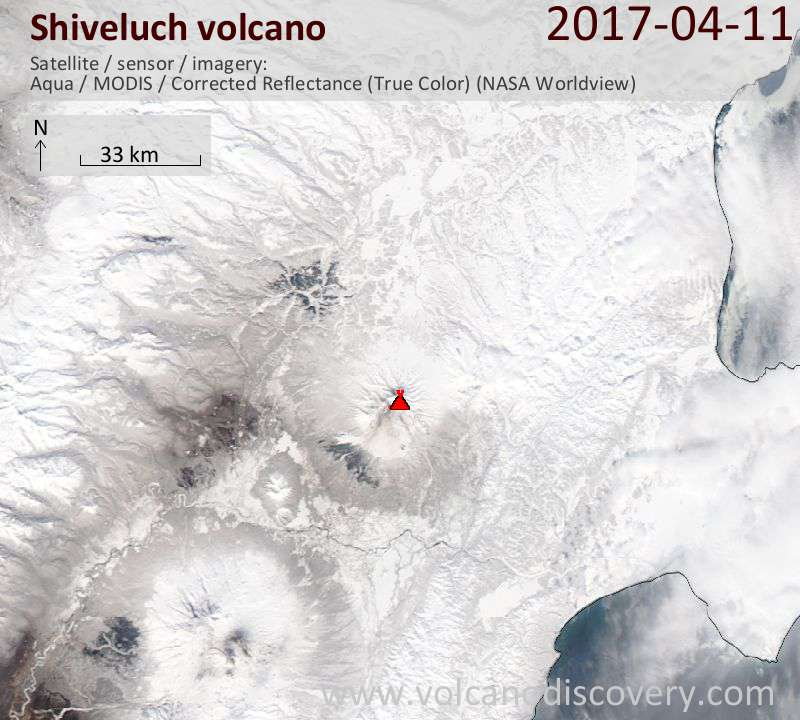 Satellite image of Shiveluch volcano on 11 Apr 2017