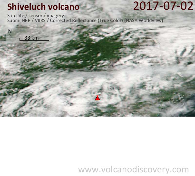 Satellite image of Shiveluch volcano on  2 Jul 2017