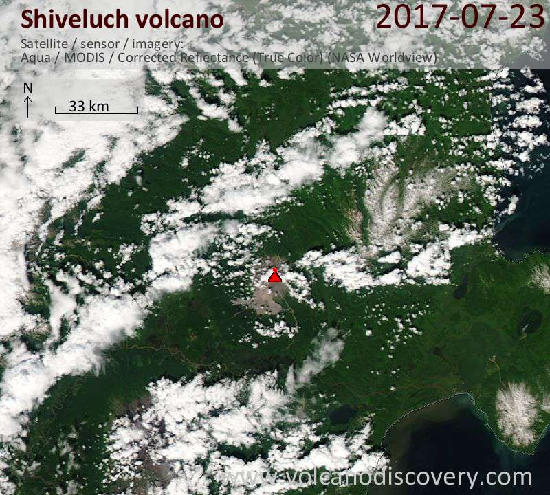 Satellite image of Shiveluch volcano on 23 Jul 2017