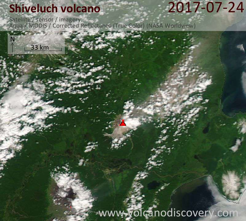 Satellite image of Shiveluch volcano on 24 Jul 2017