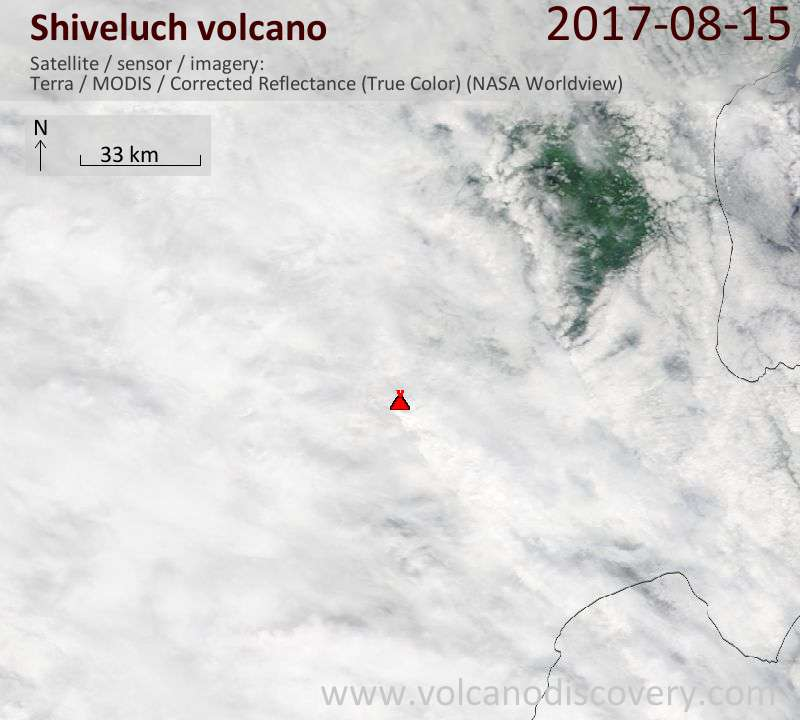 Satellite image of Shiveluch volcano on 15 Aug 2017
