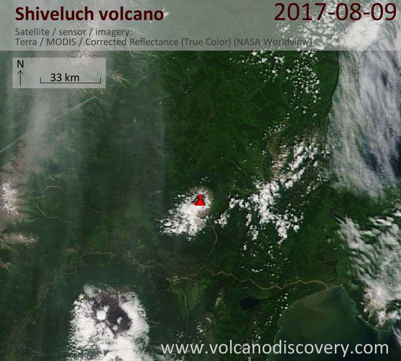 Satellite image of Shiveluch volcano on  9 Aug 2017