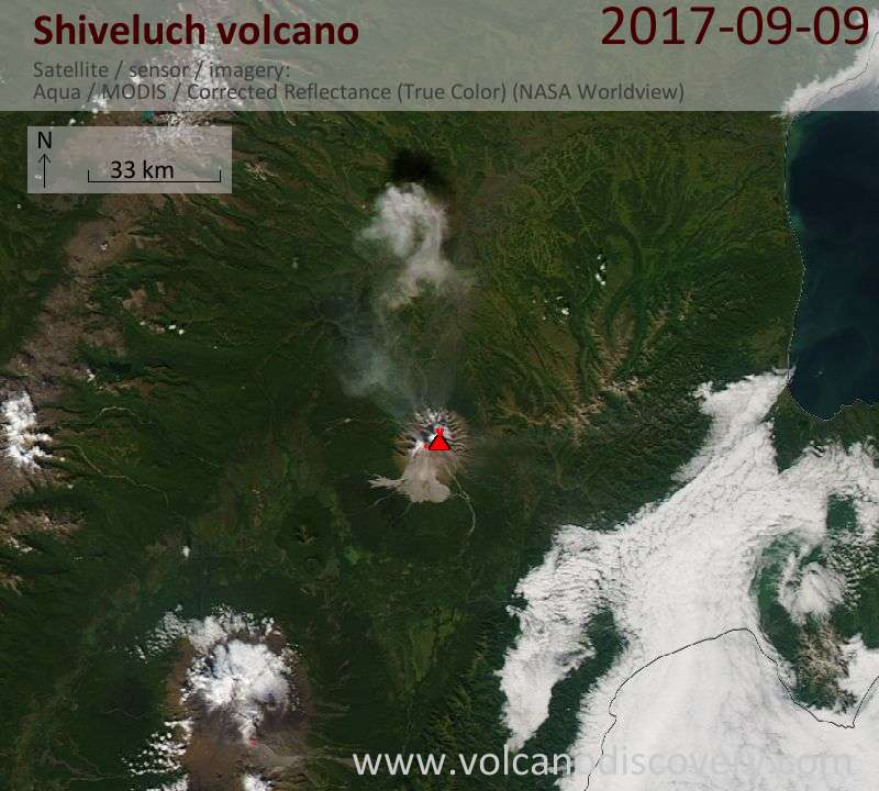 Satellite image of Shiveluch volcano on 10 Sep 2017