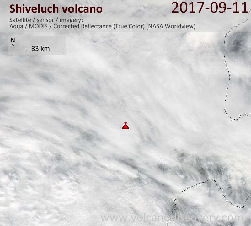 Satellite image of Shiveluch volcano on 11 Sep 2017