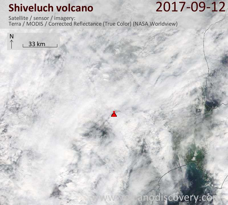 Satellite image of Shiveluch volcano on 12 Sep 2017