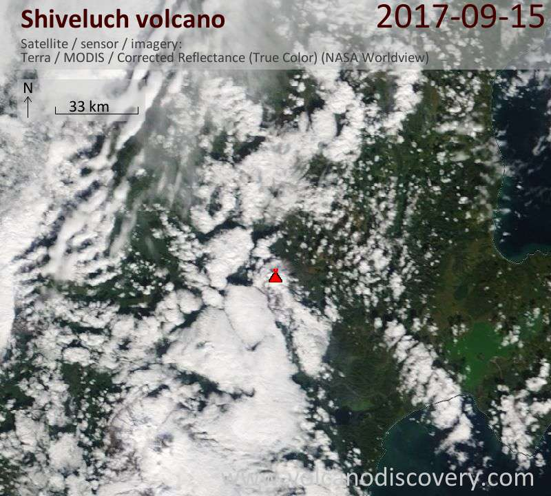Satellite image of Shiveluch volcano on 15 Sep 2017