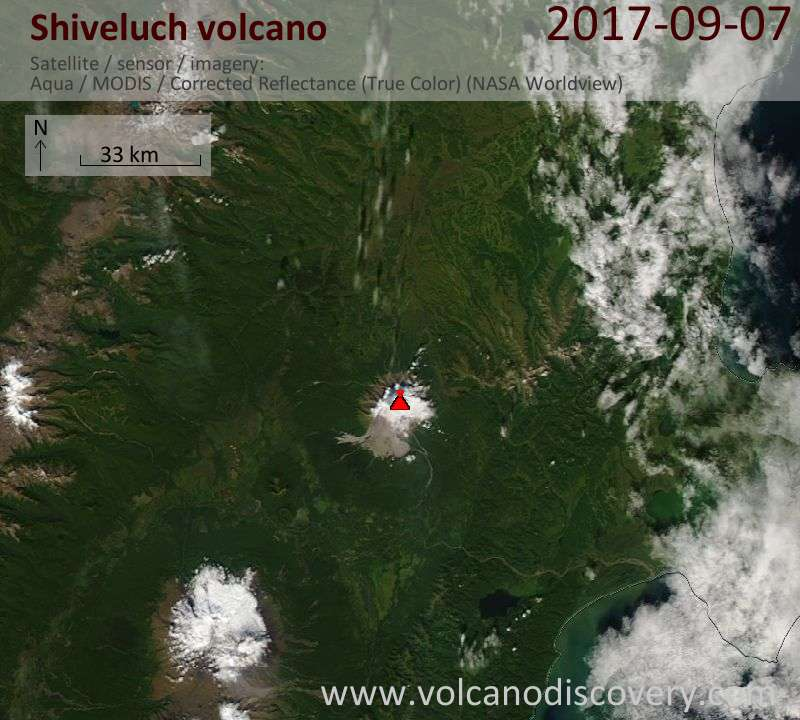 Satellite image of Shiveluch volcano on  7 Sep 2017