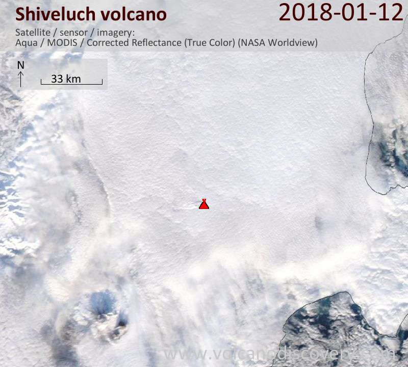 Satellite image of Shiveluch volcano on 12 Jan 2018