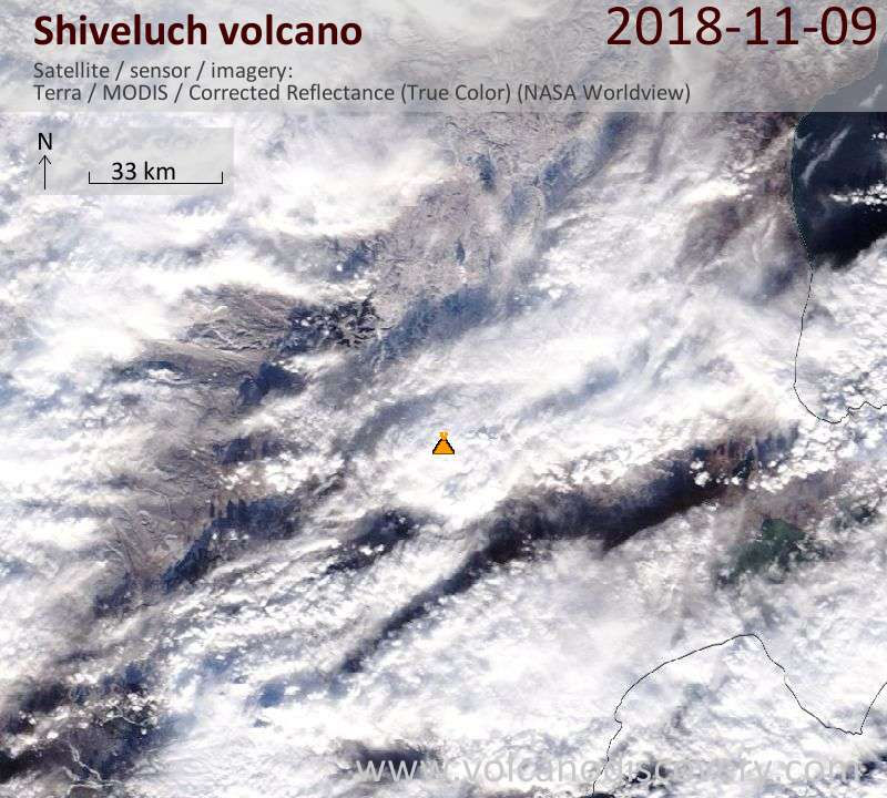 Satellite image of Shiveluch volcano on  9 Nov 2018