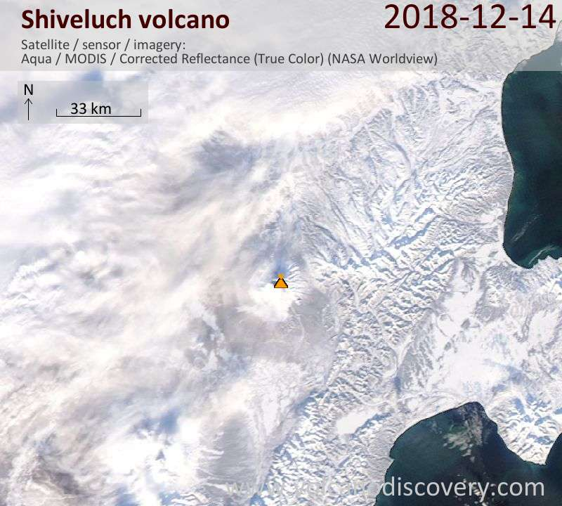 Satellite image of Shiveluch volcano on 14 Dec 2018