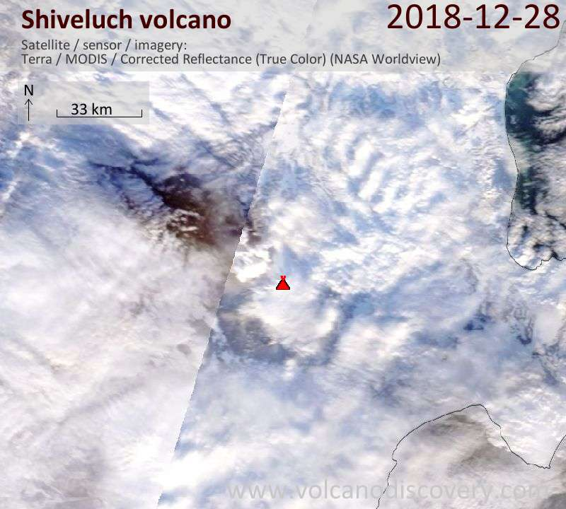Satellite image of Shiveluch volcano on 28 Dec 2018