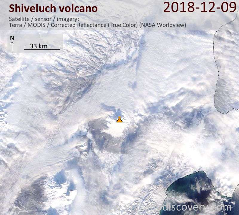Satellite image of Shiveluch volcano on  9 Dec 2018