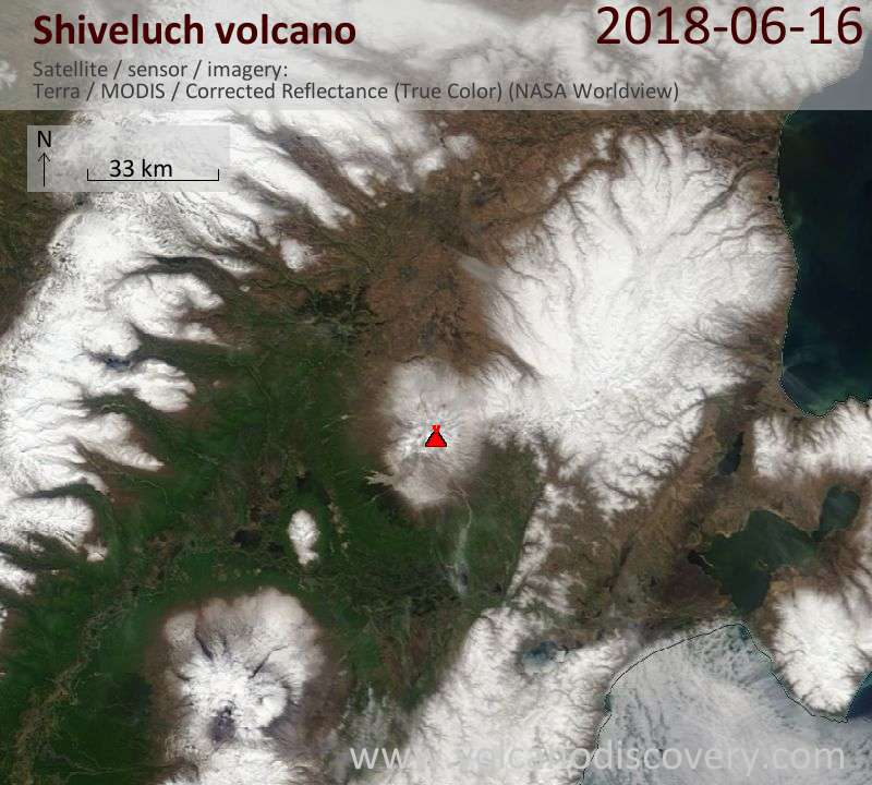 Satellite image of Shiveluch volcano on 16 Jun 2018