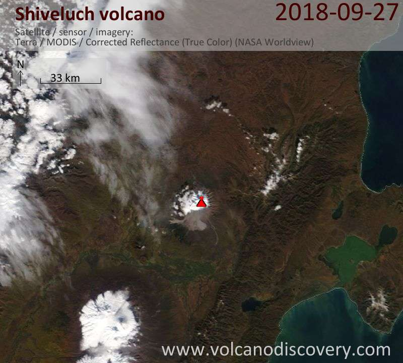 Satellite image of Shiveluch volcano on 27 Sep 2018