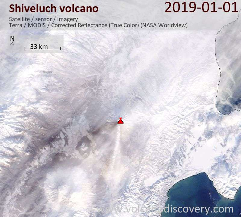 Satellite image of Shiveluch volcano on  1 Jan 2019