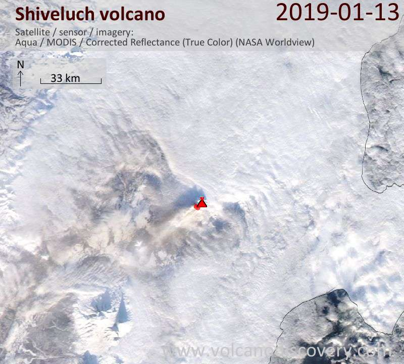 Satellite image of Shiveluch volcano on 14 Jan 2019