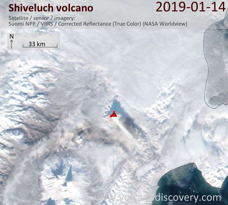 Satellite image of Shiveluch volcano on 15 Jan 2019