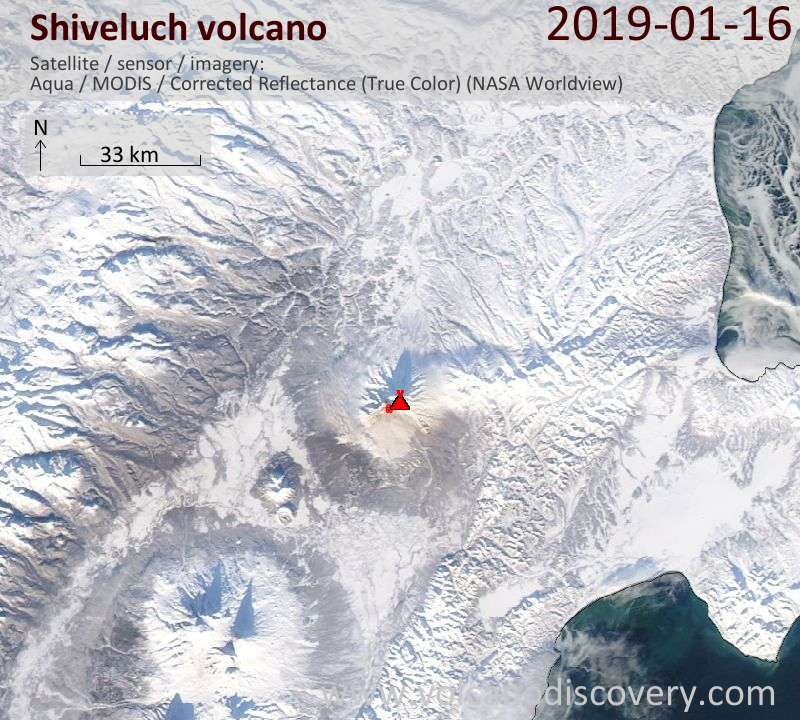Satellite image of Shiveluch volcano on 16 Jan 2019