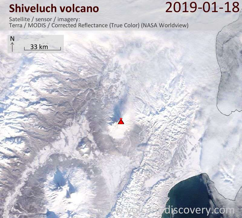 Satellite image of Shiveluch volcano on 18 Jan 2019
