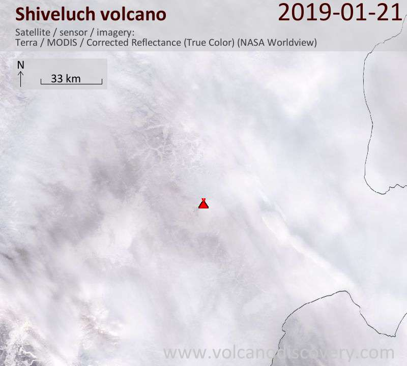 Satellite image of Shiveluch volcano on 21 Jan 2019