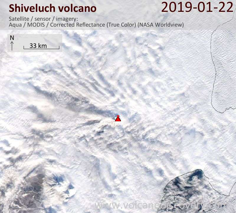 Satellite image of Shiveluch volcano on 22 Jan 2019