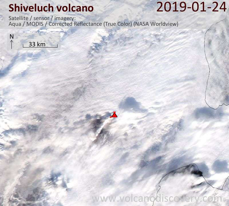 Satellite image of Shiveluch volcano on 25 Jan 2019