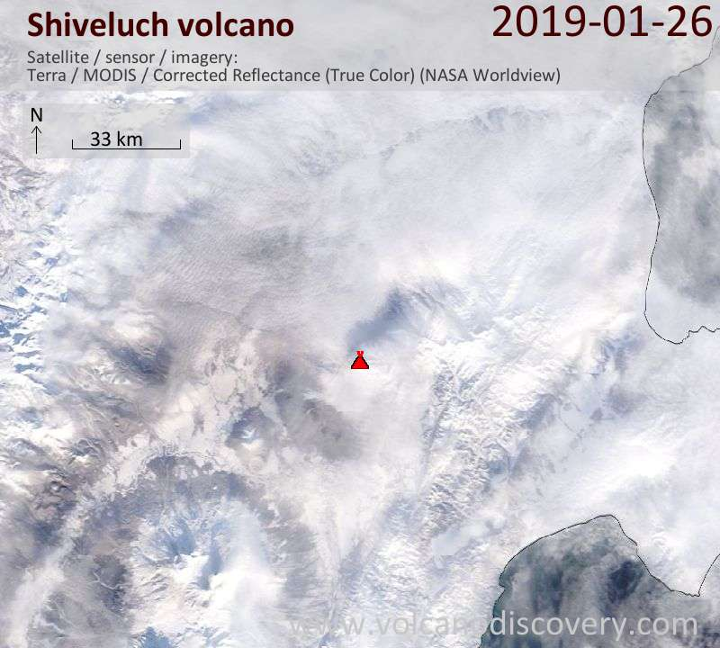Satellite image of Shiveluch volcano on 26 Jan 2019