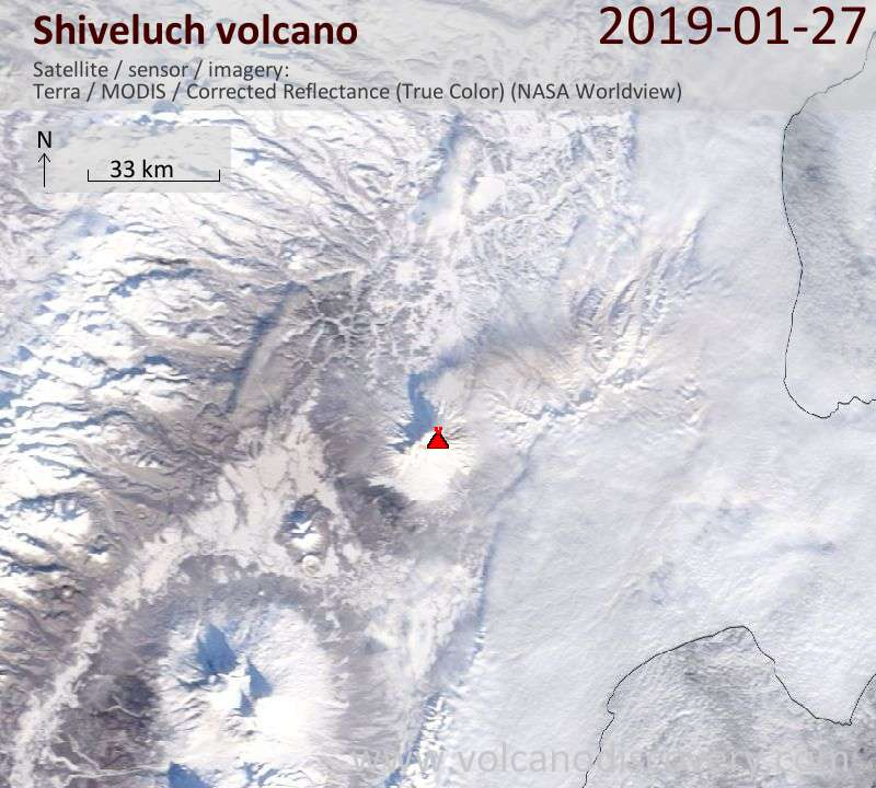 Satellite image of Shiveluch volcano on 27 Jan 2019