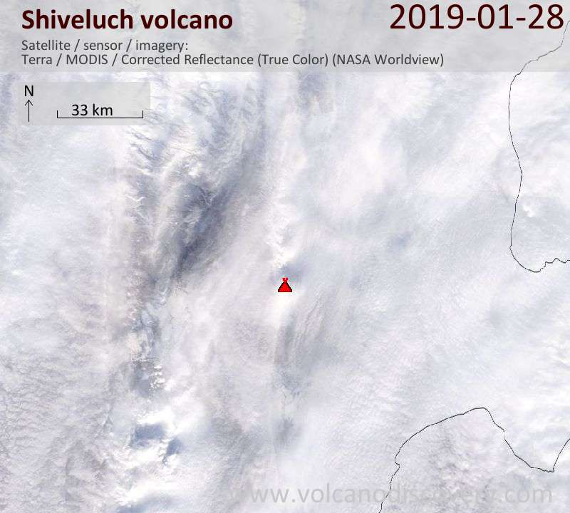 Satellite image of Shiveluch volcano on 28 Jan 2019