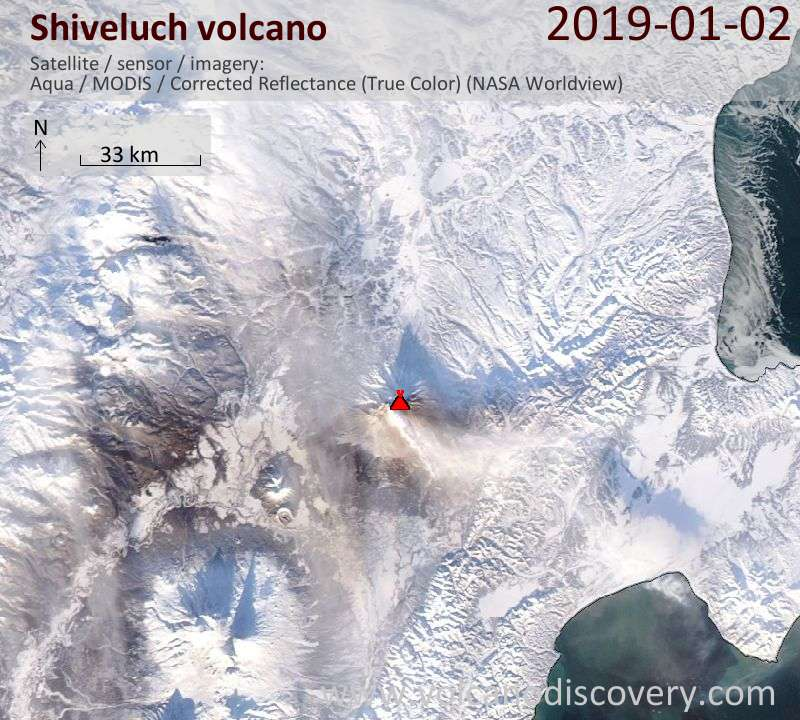 Satellite image of Shiveluch volcano on  3 Jan 2019