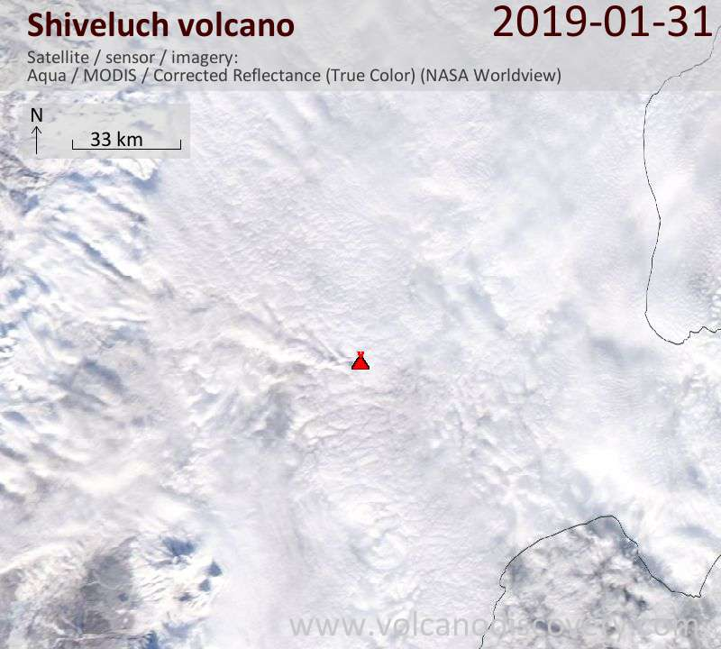 Satellite image of Shiveluch volcano on 31 Jan 2019