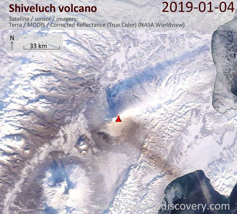 Satellite image of Shiveluch volcano on  4 Jan 2019