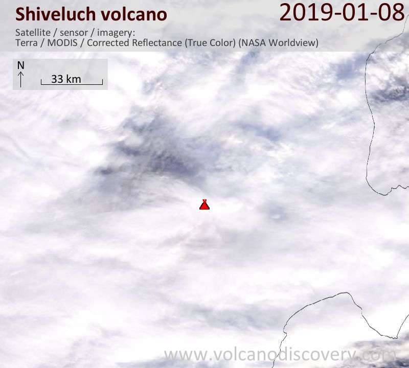 Satellite image of Shiveluch volcano on  8 Jan 2019
