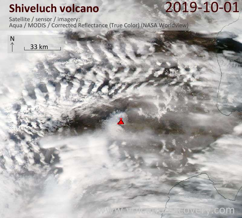 Satellite image of Shiveluch volcano on  1 Oct 2019