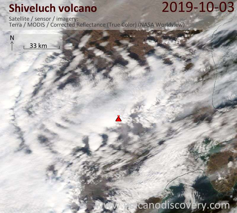 Satellite image of Shiveluch volcano on  3 Oct 2019
