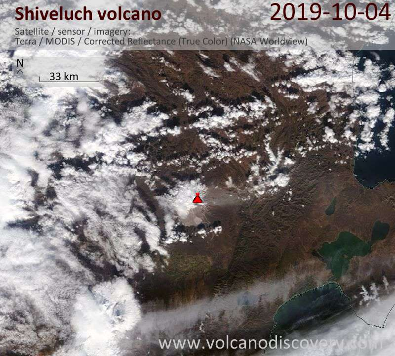 Satellite image of Shiveluch volcano on  4 Oct 2019