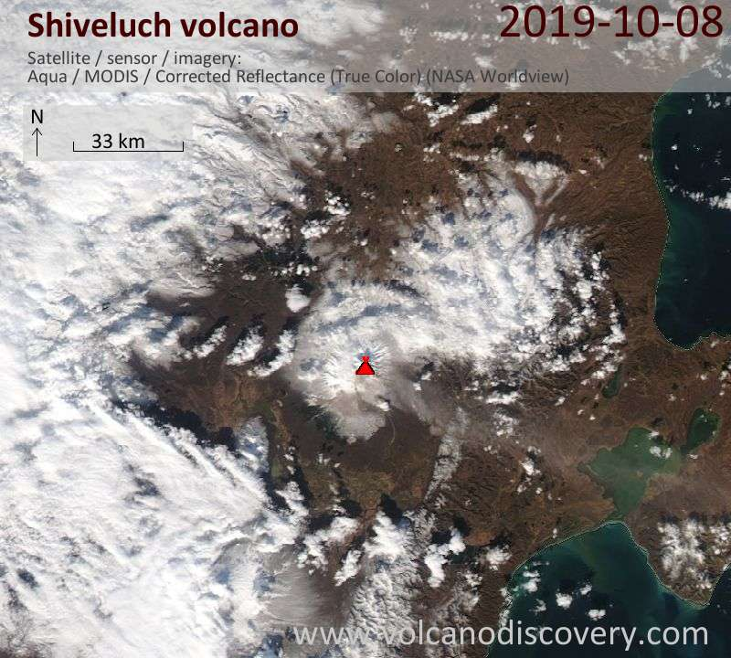 Satellite image of Shiveluch volcano on  8 Oct 2019
