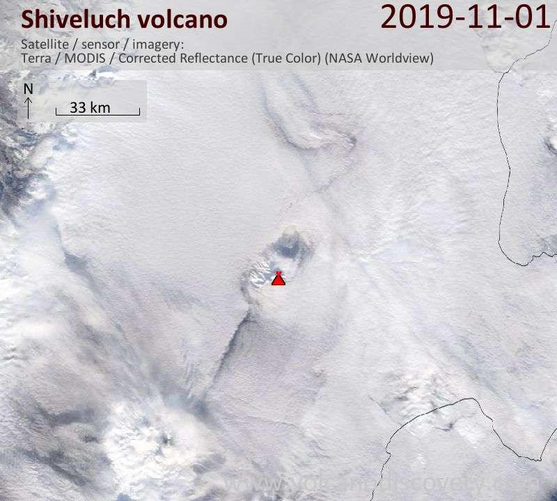 Satellite image of Shiveluch volcano on  1 Nov 2019