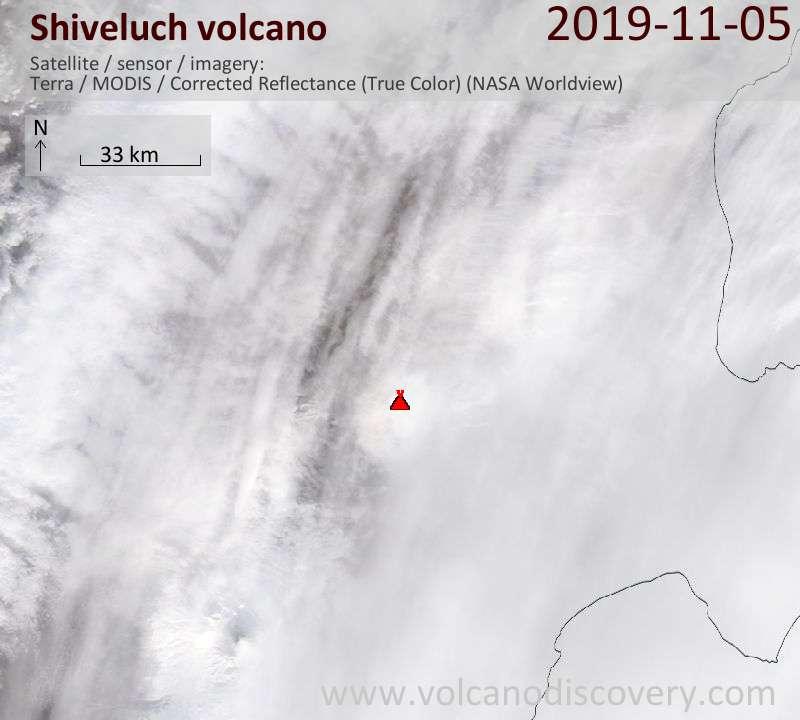Satellite image of Shiveluch volcano on  5 Nov 2019