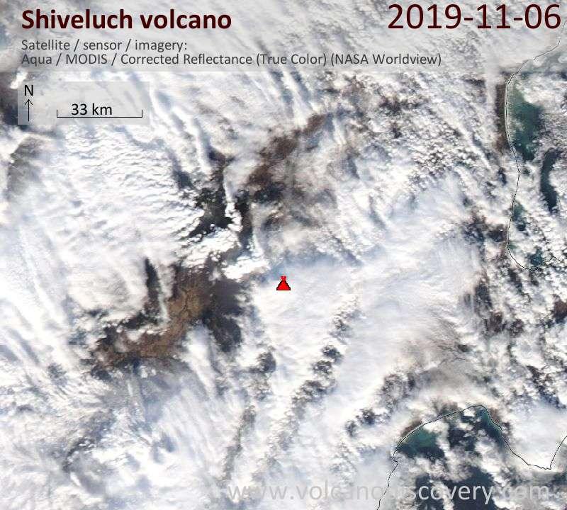 Satellite image of Shiveluch volcano on  6 Nov 2019