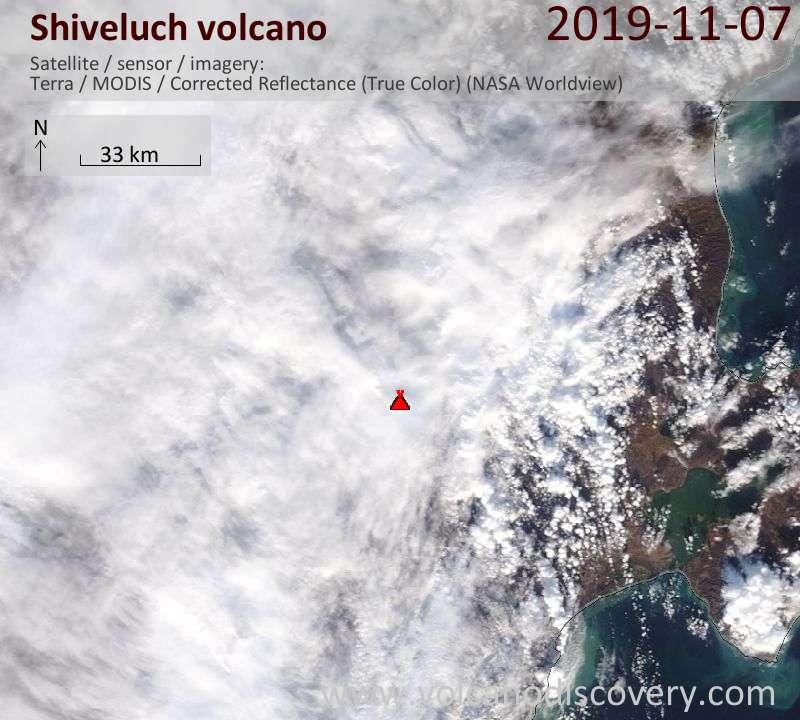 Satellite image of Shiveluch volcano on  7 Nov 2019