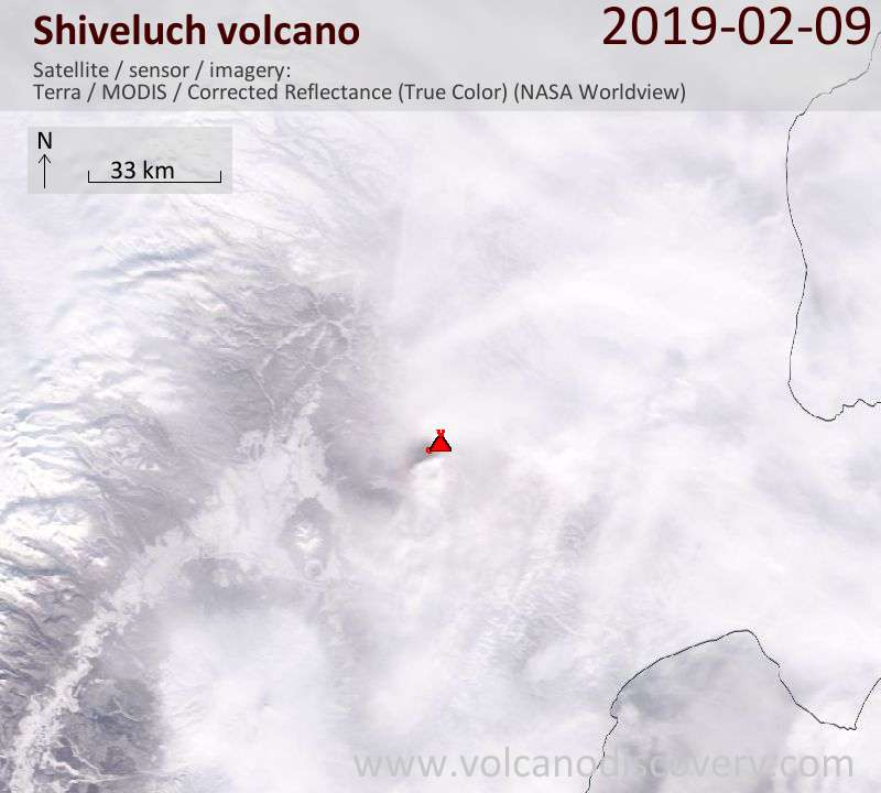 Satellite image of Shiveluch volcano on 10 Feb 2019