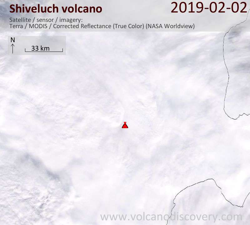 Satellite image of Shiveluch volcano on  2 Feb 2019
