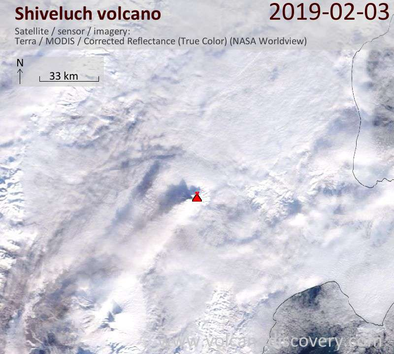 Satellite image of Shiveluch volcano on  3 Feb 2019
